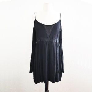 Dresses & Skirts - Black Cold Shoulder Dress Sheer Lace Back Size M